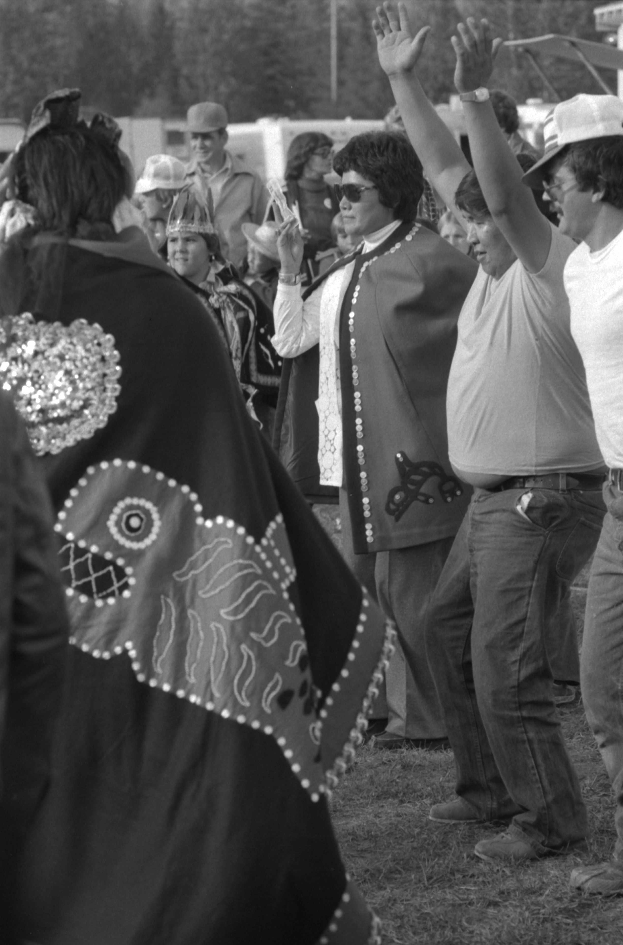 Gloria George and man dancing at the Bulkley Valley Exibition in Smithers 1978