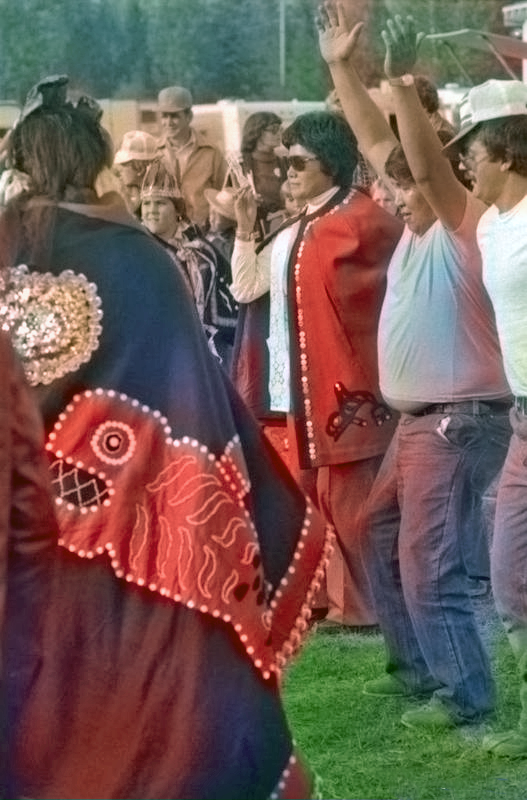 Gloria George and Chief Smogelgem dancing at the Bulkley Valley Exhibition in Smithers 1978
